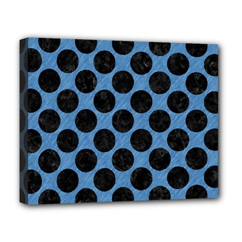 CIRCLES2 BLACK MARBLE & BLUE COLORED PENCIL (R) Deluxe Canvas 20  x 16  (Stretched)