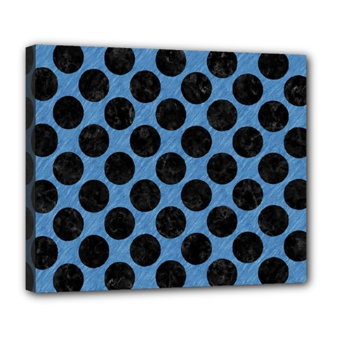 CIRCLES2 BLACK MARBLE & BLUE COLORED PENCIL (R) Deluxe Canvas 24  x 20  (Stretched)