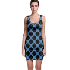 CIRCLES2 BLACK MARBLE & BLUE COLORED PENCIL (R) Bodycon Dress