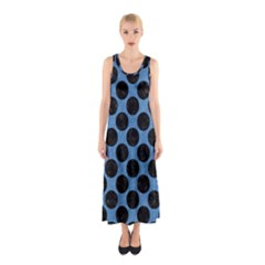 CIRCLES2 BLACK MARBLE & BLUE COLORED PENCIL (R) Sleeveless Maxi Dress