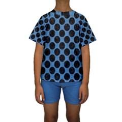 CIRCLES2 BLACK MARBLE & BLUE COLORED PENCIL (R) Kids  Short Sleeve Swimwear