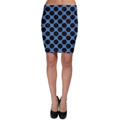 CIRCLES2 BLACK MARBLE & BLUE COLORED PENCIL (R) Bodycon Skirt