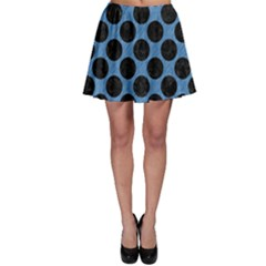 CIRCLES2 BLACK MARBLE & BLUE COLORED PENCIL (R) Skater Skirt