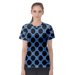 CIRCLES2 BLACK MARBLE & BLUE COLORED PENCIL (R) Women s Sport Mesh Tee