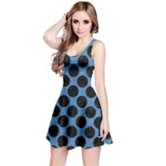 CIRCLES2 BLACK MARBLE & BLUE COLORED PENCIL (R) Reversible Sleeveless Dress