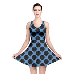 CIRCLES2 BLACK MARBLE & BLUE COLORED PENCIL (R) Reversible Skater Dress