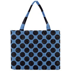 CIRCLES2 BLACK MARBLE & BLUE COLORED PENCIL (R) Mini Tote Bag