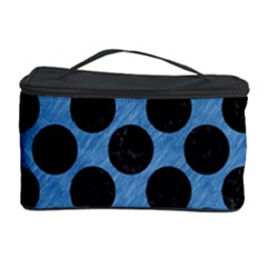 CIRCLES2 BLACK MARBLE & BLUE COLORED PENCIL (R) Cosmetic Storage Case