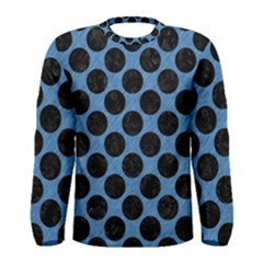 CIRCLES2 BLACK MARBLE & BLUE COLORED PENCIL (R) Men s Long Sleeve Tee