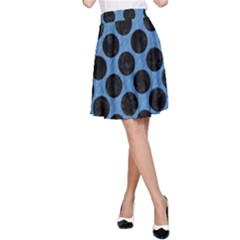CIRCLES2 BLACK MARBLE & BLUE COLORED PENCIL (R) A-Line Skirt