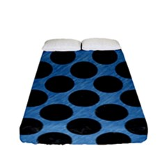CIRCLES2 BLACK MARBLE & BLUE COLORED PENCIL (R) Fitted Sheet (Full/ Double Size)