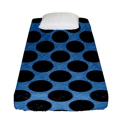CIRCLES2 BLACK MARBLE & BLUE COLORED PENCIL (R) Fitted Sheet (Single Size)
