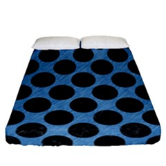 CIRCLES2 BLACK MARBLE & BLUE COLORED PENCIL (R) Fitted Sheet (Queen Size)