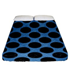 CIRCLES2 BLACK MARBLE & BLUE COLORED PENCIL (R) Fitted Sheet (King Size)