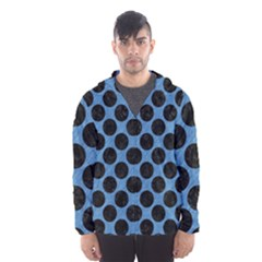 CIRCLES2 BLACK MARBLE & BLUE COLORED PENCIL (R) Hooded Wind Breaker (Men)