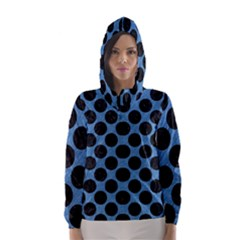 CIRCLES2 BLACK MARBLE & BLUE COLORED PENCIL (R) Hooded Wind Breaker (Women)