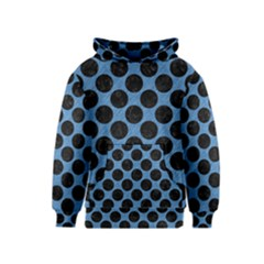CIRCLES2 BLACK MARBLE & BLUE COLORED PENCIL (R) Kids  Pullover Hoodie