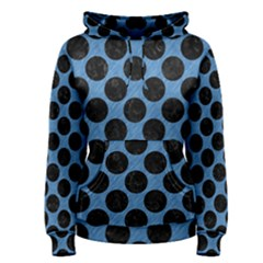 CIRCLES2 BLACK MARBLE & BLUE COLORED PENCIL (R) Women s Pullover Hoodie