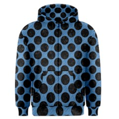 CIRCLES2 BLACK MARBLE & BLUE COLORED PENCIL (R) Men s Zipper Hoodie