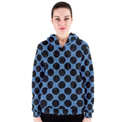 CIRCLES2 BLACK MARBLE & BLUE COLORED PENCIL (R) Women s Zipper Hoodie