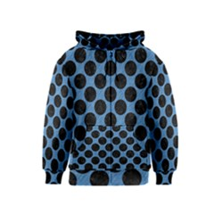 CIRCLES2 BLACK MARBLE & BLUE COLORED PENCIL (R) Kids  Zipper Hoodie