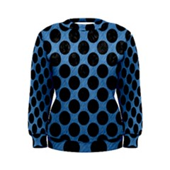 CIRCLES2 BLACK MARBLE & BLUE COLORED PENCIL (R) Women s Sweatshirt