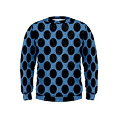 CIRCLES2 BLACK MARBLE & BLUE COLORED PENCIL (R) Kids  Sweatshirt
