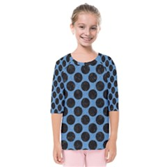 CIRCLES2 BLACK MARBLE & BLUE COLORED PENCIL (R) Kids  Quarter Sleeve Raglan Tee