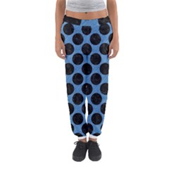 CIRCLES2 BLACK MARBLE & BLUE COLORED PENCIL (R) Women s Jogger Sweatpants