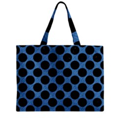 CIRCLES2 BLACK MARBLE & BLUE COLORED PENCIL (R) Zipper Mini Tote Bag