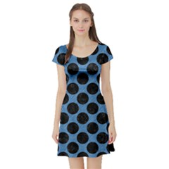 CIRCLES2 BLACK MARBLE & BLUE COLORED PENCIL (R) Short Sleeve Skater Dress