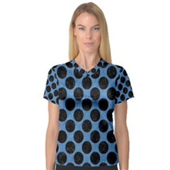 CIRCLES2 BLACK MARBLE & BLUE COLORED PENCIL (R) V-Neck Sport Mesh Tee