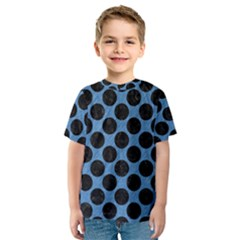CIRCLES2 BLACK MARBLE & BLUE COLORED PENCIL (R) Kids  Sport Mesh Tee