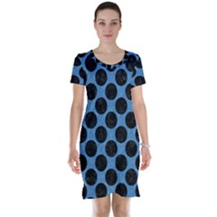 CIRCLES2 BLACK MARBLE & BLUE COLORED PENCIL (R) Short Sleeve Nightdress