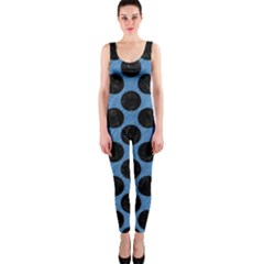 CIRCLES2 BLACK MARBLE & BLUE COLORED PENCIL (R) OnePiece Catsuit