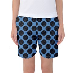 CIRCLES2 BLACK MARBLE & BLUE COLORED PENCIL (R) Women s Basketball Shorts