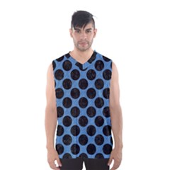 CIRCLES2 BLACK MARBLE & BLUE COLORED PENCIL (R) Men s Basketball Tank Top