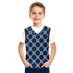 CIRCLES2 BLACK MARBLE & BLUE COLORED PENCIL (R) Kids  Basketball Tank Top