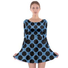 CIRCLES2 BLACK MARBLE & BLUE COLORED PENCIL (R) Long Sleeve Skater Dress