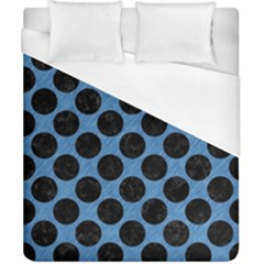CIRCLES2 BLACK MARBLE & BLUE COLORED PENCIL (R) Duvet Cover (California King Size)