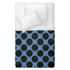 CIRCLES2 BLACK MARBLE & BLUE COLORED PENCIL (R) Duvet Cover (Single Size)