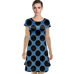 CIRCLES2 BLACK MARBLE & BLUE COLORED PENCIL (R) Cap Sleeve Nightdress