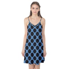 CIRCLES2 BLACK MARBLE & BLUE COLORED PENCIL (R) Camis Nightgown