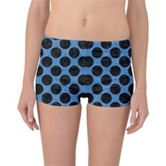 CIRCLES2 BLACK MARBLE & BLUE COLORED PENCIL (R) Reversible Boyleg Bikini Bottoms