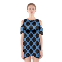 CIRCLES2 BLACK MARBLE & BLUE COLORED PENCIL (R) Shoulder Cutout One Piece