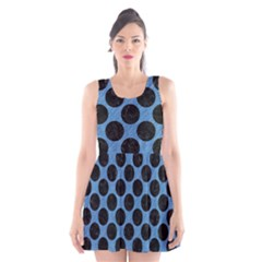 CIRCLES2 BLACK MARBLE & BLUE COLORED PENCIL (R) Scoop Neck Skater Dress