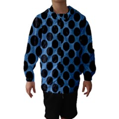 CIRCLES2 BLACK MARBLE & BLUE COLORED PENCIL (R) Hooded Wind Breaker (Kids)