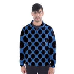 CIRCLES2 BLACK MARBLE & BLUE COLORED PENCIL (R) Wind Breaker (Men)