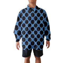 CIRCLES2 BLACK MARBLE & BLUE COLORED PENCIL (R) Wind Breaker (Kids)