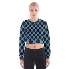 CIRCLES2 BLACK MARBLE & BLUE COLORED PENCIL (R) Cropped Sweatshirt